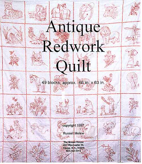 Quilting Redwork Designs : redwork quilting books available at the Moses House quilt shop